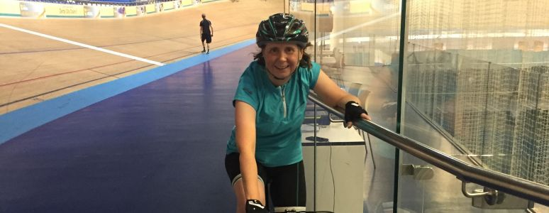 Derby Arena member Emma Watson on her bike in the velodrome