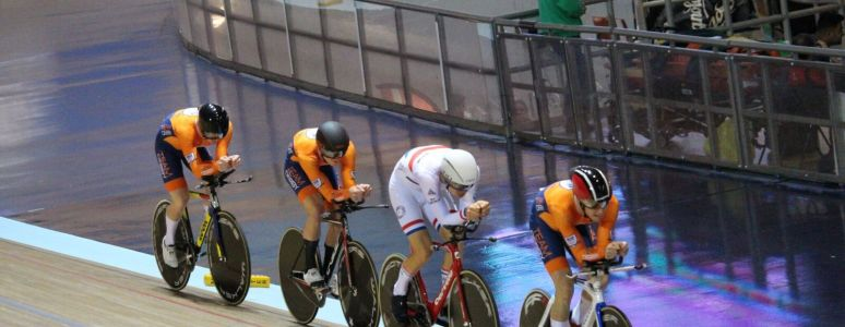 Team Derby competing at the National Cycling Centre in Manchester during November. (Riders: Karl Ballie, Edward O'Connell, Charlie Tanfield and Will Perrett)