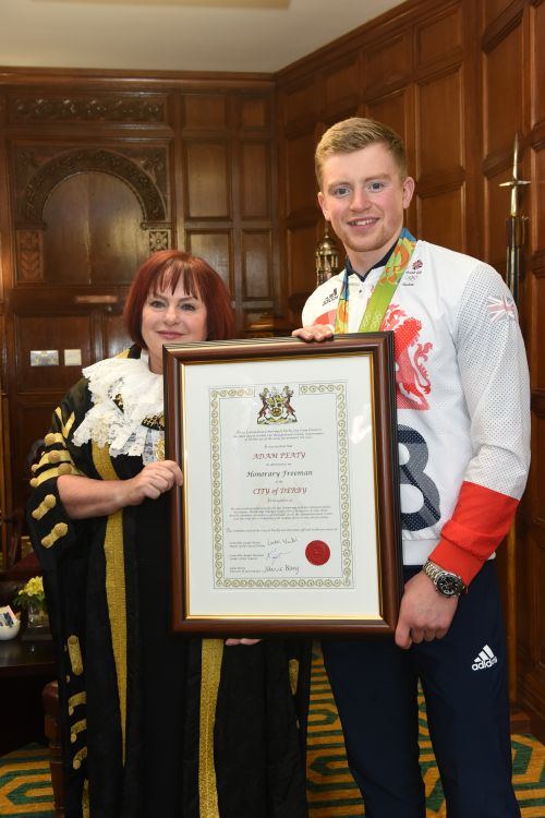 Adam Peaty awarded with the Freedom of the City by Cllr Linda Winter, Mayor of the City of Derby