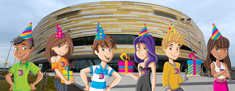 Six Characters birthday party Derby Arena