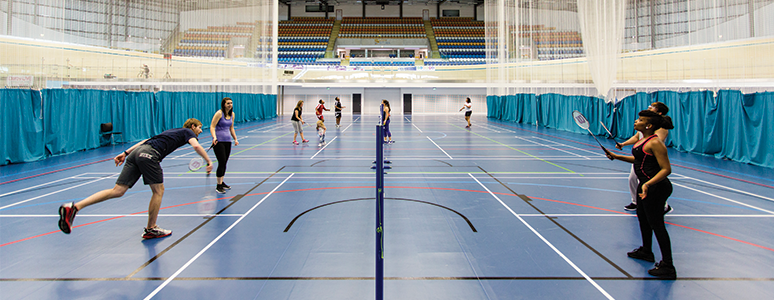 Derby Arena infield badminton courts with players