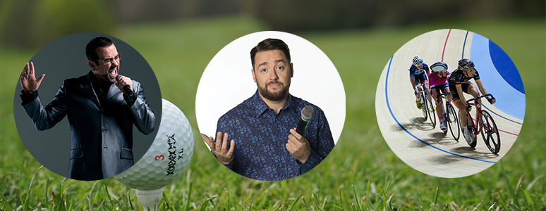 Fastlove, Jason Manford and cyclists on a golf background