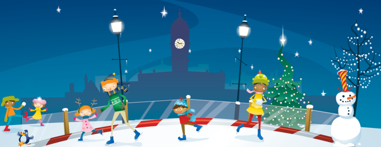 Illustration of families skating on the ice rink at Christmas